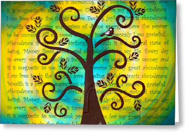 Attract Wealth Greeting Cards - Tree of Prosperity and Abundance Greeting Card by Agata Lindquist