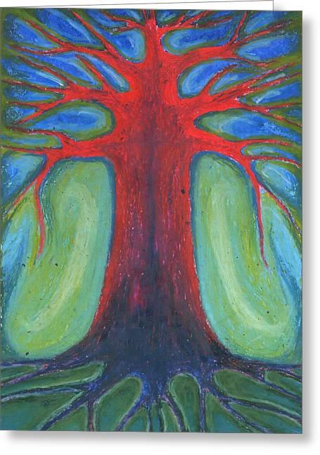 Vivid Colour Pastels Greeting Cards - Tree Of Quiet Greeting Card by Wojtek Kowalski