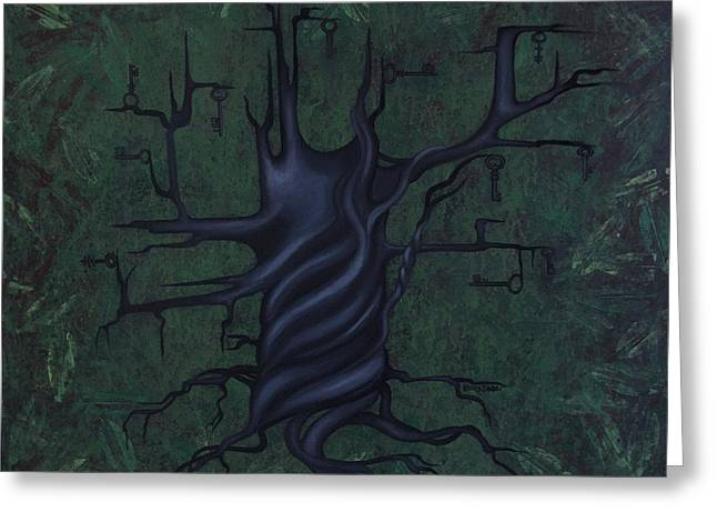 Abstract Nature Greeting Cards - Tree of Secrets Greeting Card by Kelly Jade King