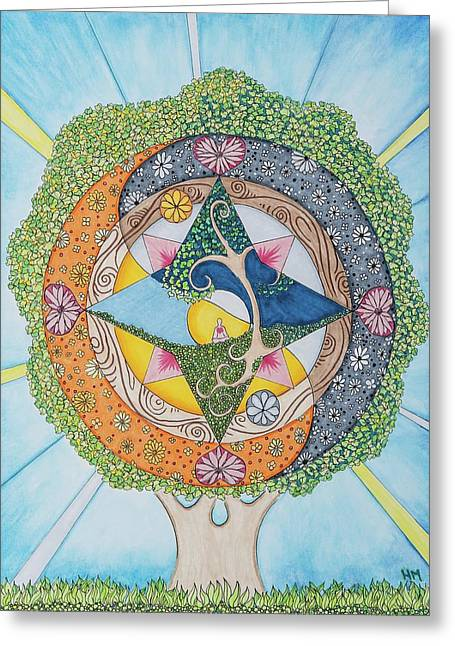 Sit-ins Drawings Greeting Cards - Tree of Self-Compassion Greeting Card by Heather Mulvenna