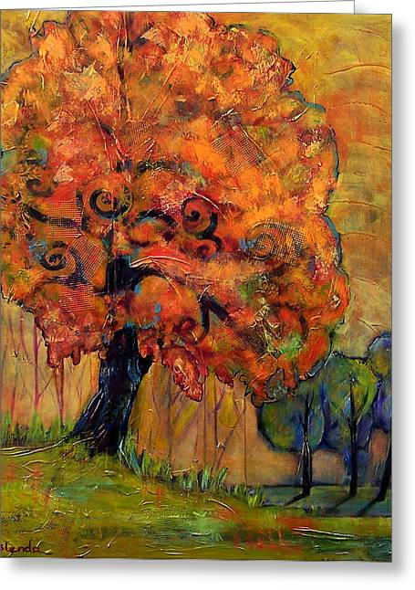 Warm Tones Greeting Cards - Tree of Wisdom Greeting Card by Blenda Studio