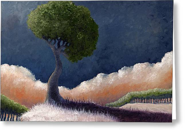 Dreamscape Paintings Greeting Cards - Tree over the Big Black Greeting Card by Ethan Harris
