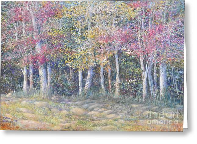 Birch Tree Pastels Greeting Cards - Tree Pageant Greeting Card by Penny Neimiller