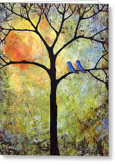 Love Bird Greeting Cards - Tree Painting Art - Sunshine Greeting Card by Blenda Studio