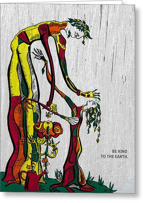 Sprinkling Can Greeting Cards - Tree people -be kind to the earth Greeting Card by Barbara Budish