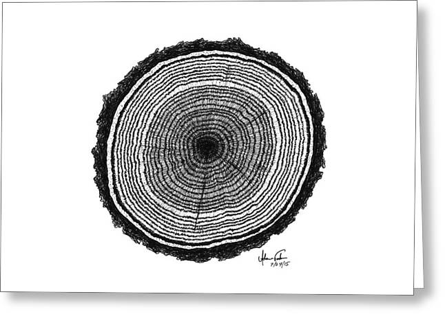 Pen And Ink Drawing Greeting Cards - Tree Rings Greeting Card by Adam Vereecke