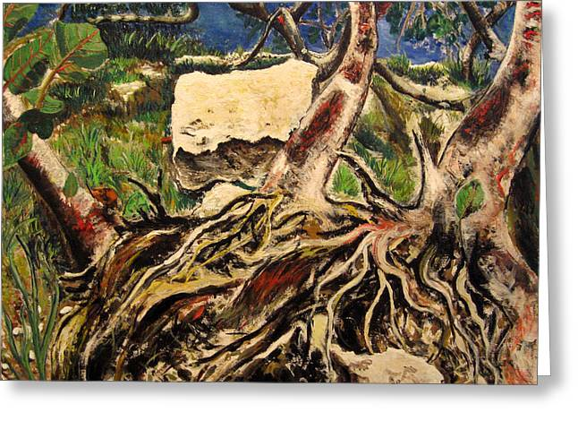 Tree Roots Paintings Greeting Cards - Tree roots Greeting Card by Vladimir Kezerashvili