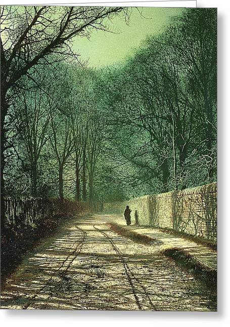 Tree Shadows In The Park Wall Greeting Card by John Atkinson Grimshaw