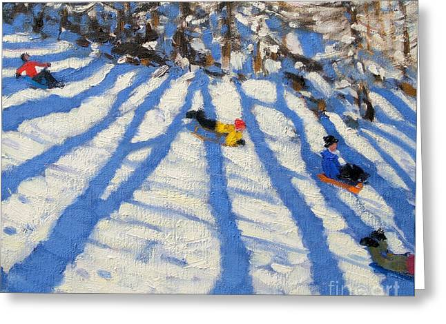 Tree Shadows Morzine Greeting Card by Andrew Macara
