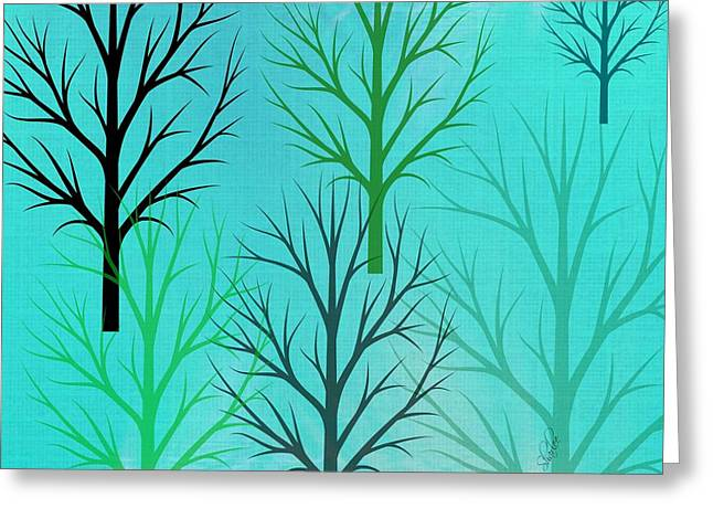 Tree Tapestries - Textiles Greeting Cards - Tree Silhouettes Greeting Card by Sharon Johnston