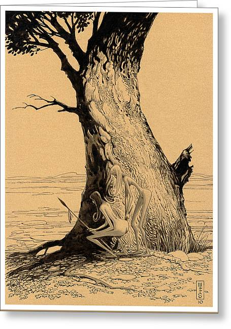 Pen And Ink Drawing Greeting Cards - Tree Sirens Greeting Card by Murray Smoker