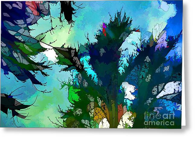 Green Abstract Greeting Cards - Tree Spirit Abstract Digital Painting Greeting Card by Robyn King