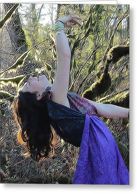 Recently Sold -  - Dancing Girl Greeting Cards - Tree Spirit Greeting Card by Shannon Gan Dathu
