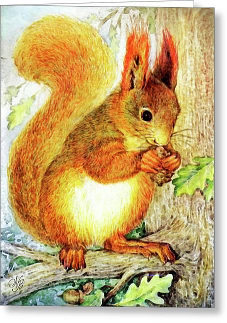 Tree Squirrel Greeting Card by Natalie Berman