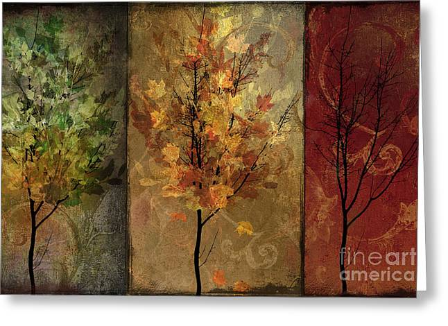 Warm Tones Greeting Cards - Tree Story Greeting Card by Mindy Sommers