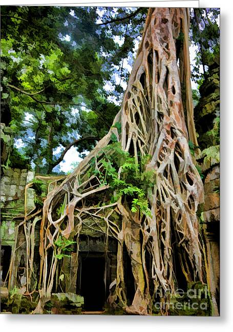 Digital Paint Greeting Cards - Tree Ta Prohm Cambodia Greeting Card by Chuck Kuhn