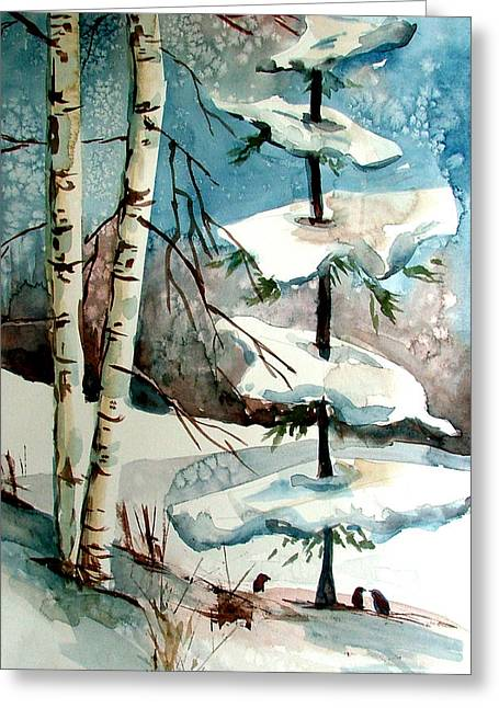 Wild Life Drawings Greeting Cards - Tree Talkers Greeting Card by Mindy Newman