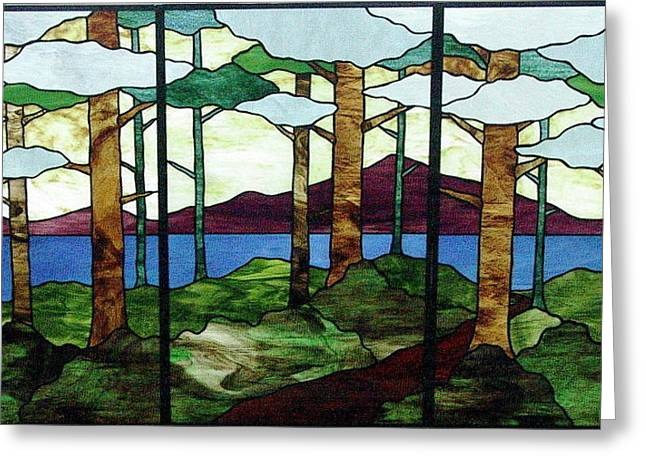 Tree Art Glass Art Greeting Cards - Tree Tryptic Greeting Card by Jane Croteau