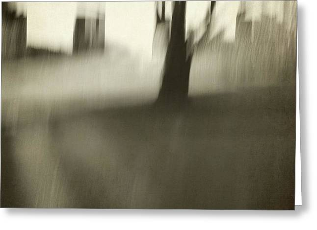 Tree With Buildings - Capitol Abstracts Series Greeting Card by Patricia Strand