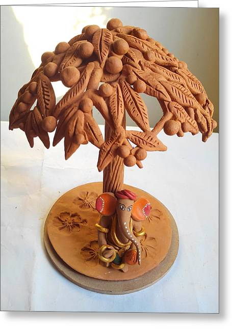 Fruit Sculptures Greeting Cards - Tree With Fruits Greeting Card by Milind Raskar