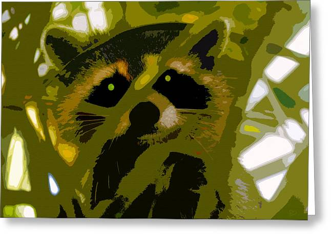 Raccoon Digital Art Greeting Cards - Treed Raccoon Greeting Card by David Lee Thompson