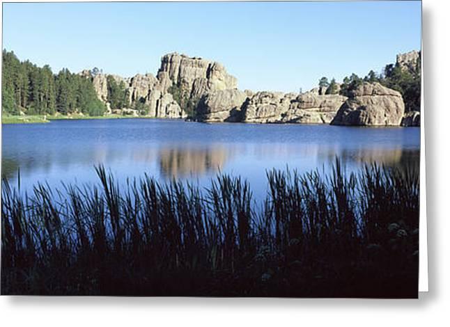 Trees Around The Lake, Sylvan Lake Greeting Card by Panoramic Images