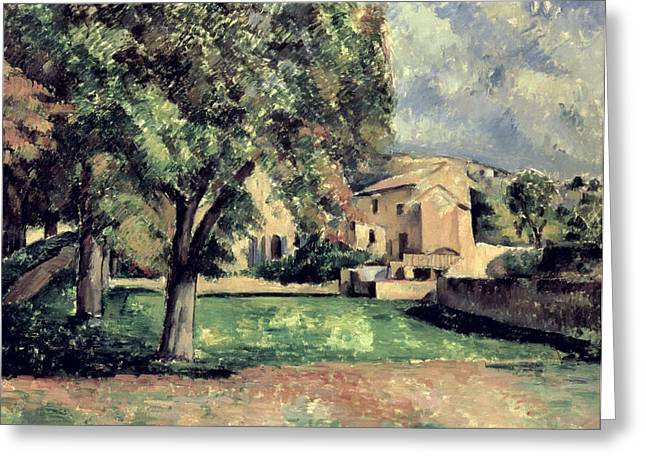 In A Park Greeting Cards - Trees in a Park Greeting Card by Paul Cezanne