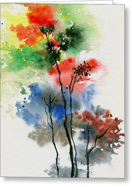 Anil Nene Greeting Cards - Trees in colors Greeting Card by Anil Nene