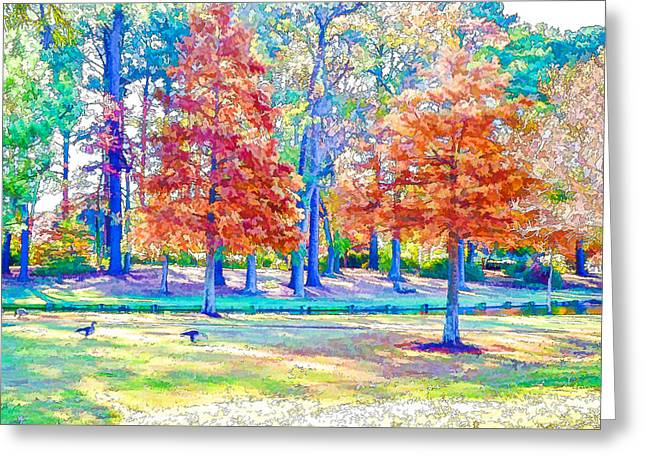 Pond In Park Greeting Cards - Trees in park 2 Greeting Card by Lanjee Chee