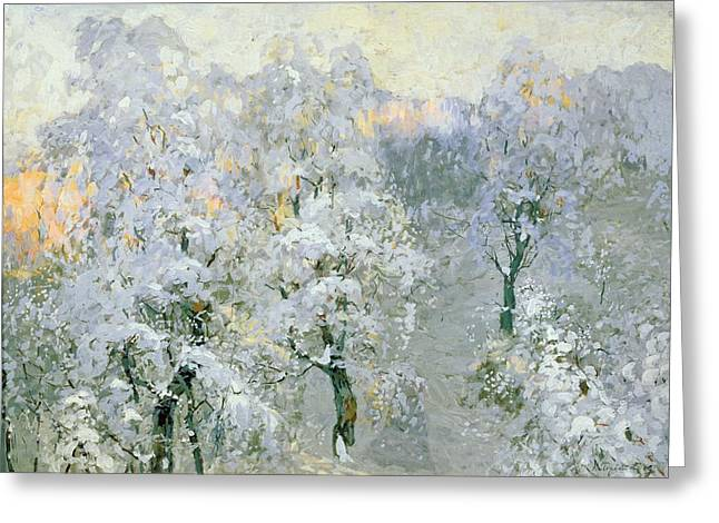 Trees In Snow Greeting Cards - Trees in Wintry Silver Greeting Card by Konstantin Ivanovich Gorbatov