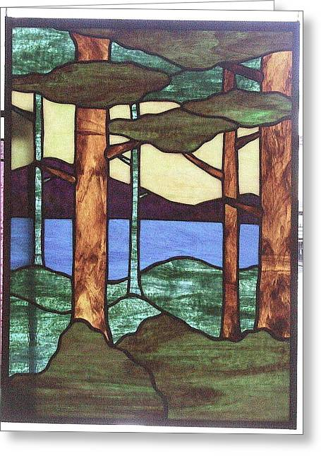 Mountains Glass Greeting Cards - Trees Greeting Card by Jane Croteau