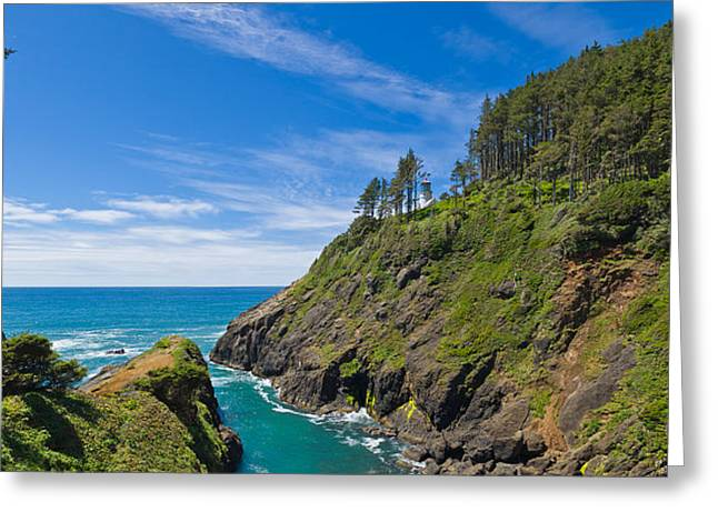 Oregon Lighthouse Image Greeting Cards - Trees On A Mountain, Heceta Head Greeting Card by Panoramic Images