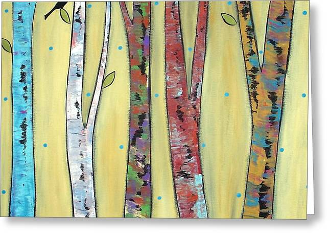 Trees On Yellow Greeting Card by Karla Gerard