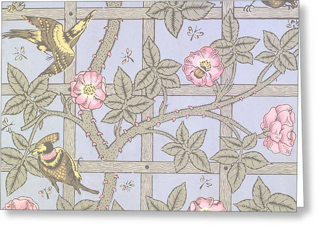 Trellis   Antique Wallpaper Design Greeting Card by William Morris