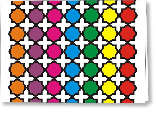Quatrefoil Greeting Cards - Colorful Quatrefoil Pattern Greeting Card by Priscilla Wolfe
