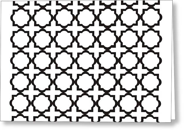 Quatrefoil Greeting Cards - Black and White Quatrefoil Pattern Greeting Card by Priscilla Wolfe
