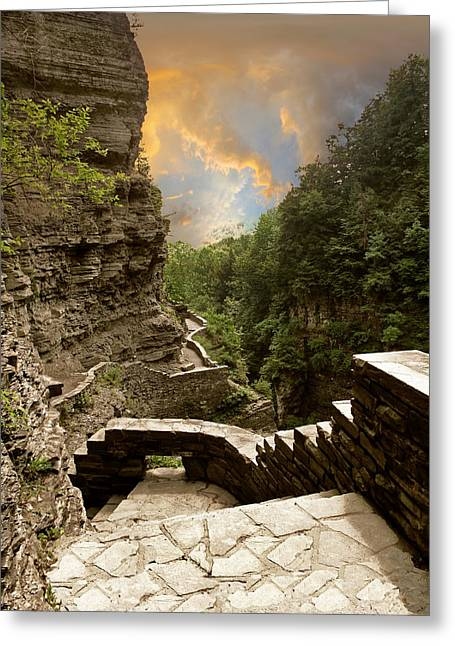 Treman Park Gorge Greeting Card by Jessica Jenney