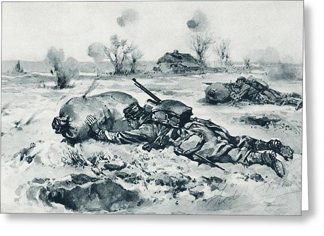 Strategy Drawings Greeting Cards - Trench Defences Used As Cover For Greeting Card by Ken Welsh
