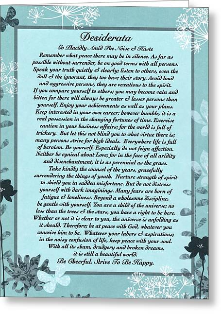 Motivational Poster Drawings Greeting Cards - Trending Aqua Blue Floral Desiderata Poem by Max Ehrmann Greeting Card by Desiderata Gallery