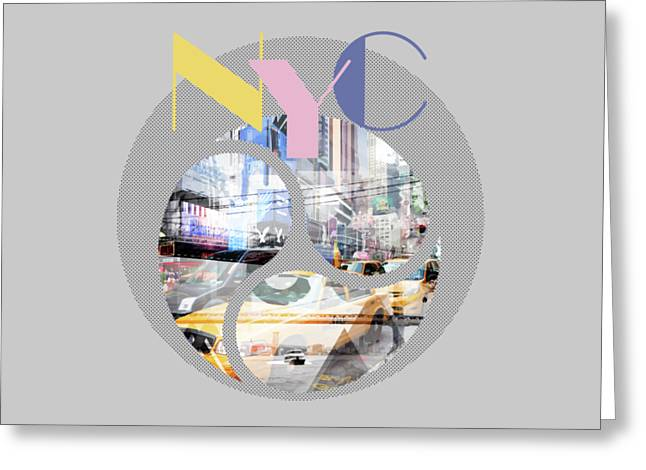 Trendy Design New York City Geometric Mix No 1 Greeting Card by Melanie Viola