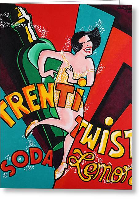 Fizz Paintings Greeting Cards - TrentiTwist Soda Greeting Card by Thom Reaves