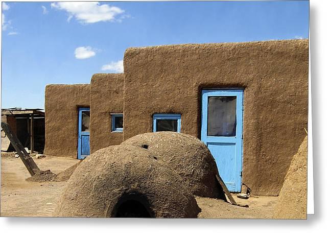 Tres Casitas Taos Pueblo Greeting Card by Kurt Van Wagner