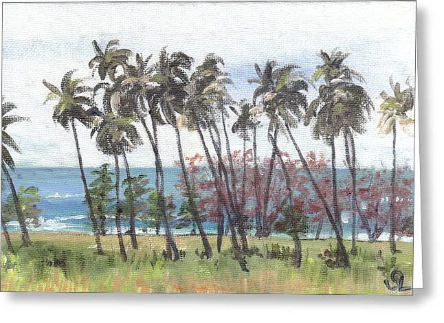 Puerto Rico Greeting Cards - Tres Palmas Greeting Card by Sarah Lynch
