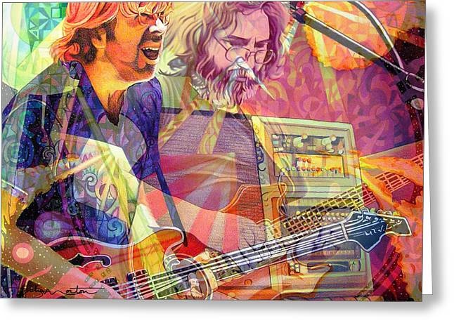 Grateful Dead Greeting Cards - Trey Channeling Cosmic Jerry Greeting Card by Joshua Morton