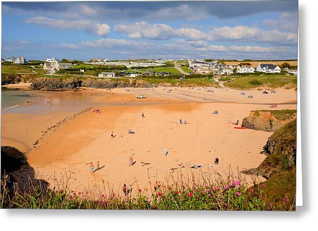 Treyarnon Bay Beach Cornwall England Uk Cornish North  Greeting Card by Michael Charles