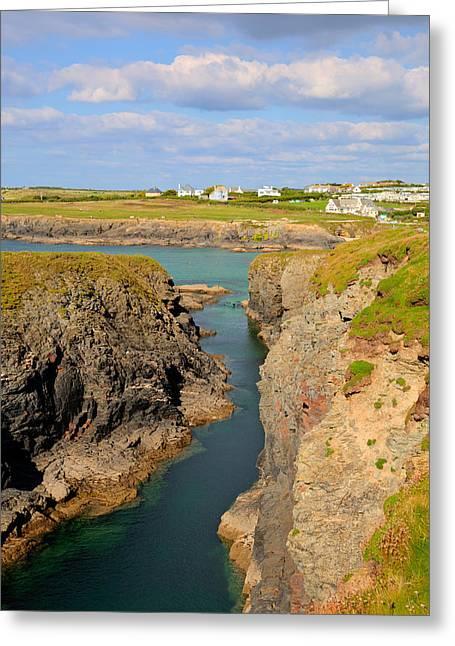 Treyarnon Bay Coast Cornwall England Uk Cornish North Colourful  Greeting Card by Michael Charles
