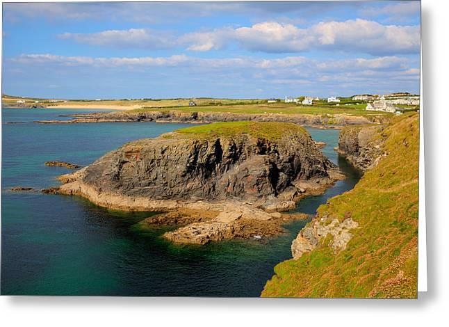 Treyarnon Bay Coast Cornwall England Uk Cornish North Colourful Scene Greeting Card by Michael Charles
