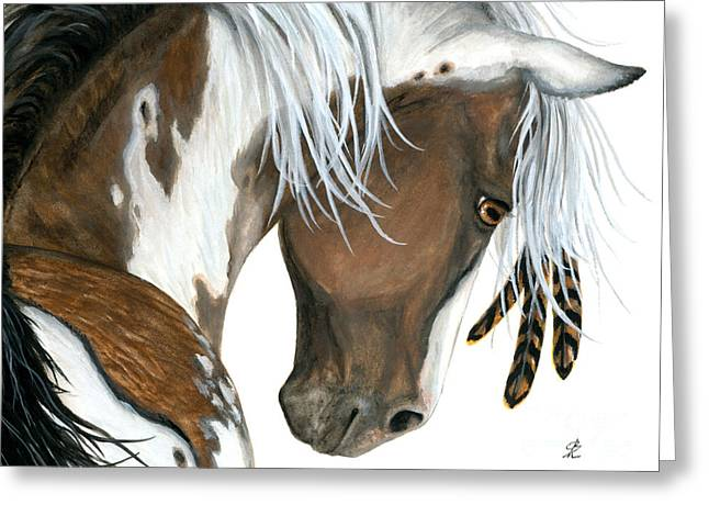 Tri Colored Pinto Horse Greeting Card by AmyLyn Bihrle
