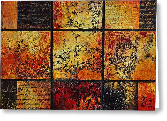 Trial Mixed Media Greeting Cards - Trial By Fire Greeting Card by Cindy Johnston