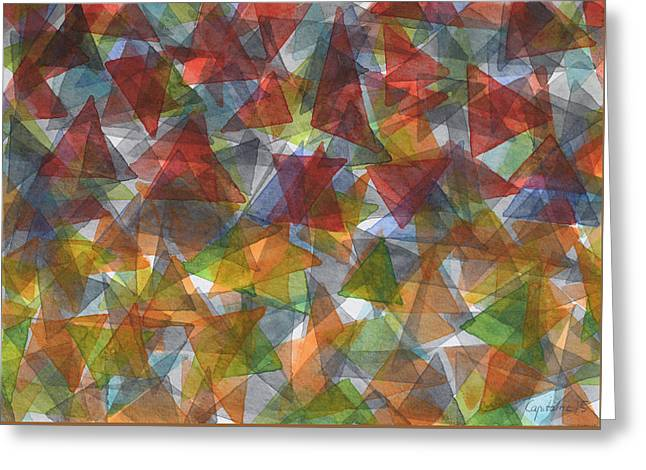 Transparency Geometric Greeting Cards - Triangle Jungle Greeting Card by Heidi Capitaine